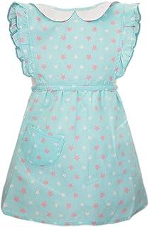 女孩裙子围裙可爱罩衣围兜 适合吃画烘焙 防水衬里 年龄 6 个月至 4 岁
