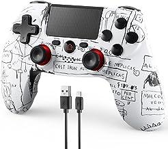 FaRuiX 游戏控制器,适用于 PS4 遥控器,无线控制器适用于 Playstation 4 / Pro/Slim/PC ,具有双振动   6 轴陀螺传感器   内置扬声器   3.5 毫米音频插孔   1000 毫安(涂鸦白色)