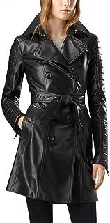 Leather Hubb 女式 Zeland Lambskin 步行皮革长款/风衣大衣外套(S - 5XL 码)