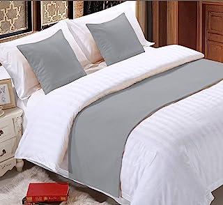 纯色 1 件套床边围巾保护套床装饰围巾适用于卧室酒店婚礼房(加州大号双人床,银色)