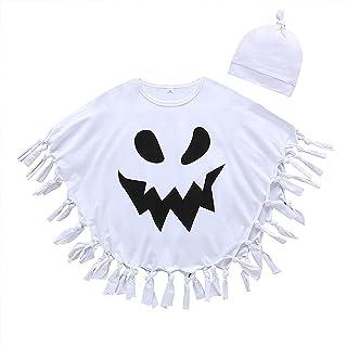 幼儿男孩女孩 2 件套万圣节斗篷幽灵印花流苏下摆罩衫嘉年华蝙蝠风格斗篷带帽子