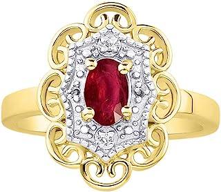 RYLOS 花卉图案戒指 椭圆形宝石和纯正闪亮钻石 14K 黄金镀银 .925-6X4MM 彩色石头诞生石戒指 Red Ruby July