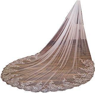 女式 1 层大教堂长度蕾丝薄纱婚礼新娘面纱带蕾丝边缘,自由梳子,299.72 厘米