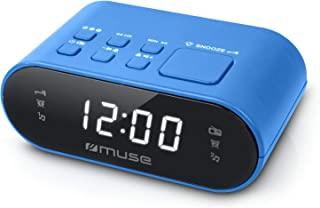 Muse M-10 BL 收音机闹钟,带 LED 显示屏,两个闹钟时间,可调光,数字FM调谐器,20个电台存储,蓝色