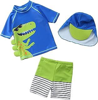 Amberetech 男婴 3 件套*服套装恐龙泳装幼儿沐浴冲浪日光浴泳装沙滩装带帽子