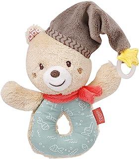 Fehn 060164 手抓玩具熊 – 手抓玩具,带摇铃和安抚奶嘴固定,适用于 0 个月以上的婴儿和幼儿 – 尺寸:13 厘米