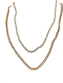 Urban Classics 中性双层钻石项链袖扣,金色,均码