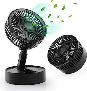 WD&CD 迷你台式风扇 USB 台式风扇 强劲气流,带 7 个刀片,3 种速度,可调节头部,适用于家庭办公室(黑色)