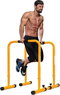 KOMSURF Dip Bar 训练站 – 浸口站*重型浸口杆,带可调节*连接器,强度训练平行杆,适合家庭锻炼,50 磅承重,黄色