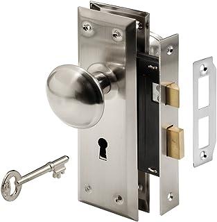 Prime-Line E 2330 Mortise 钥匙扣套装带缎面镍旋钮- 完美替换破损的复古锁组及其他,适合 3.49 厘米-4.45 厘米。 内门(缎镍) 亮灰色(Satin Nickel) E2330
