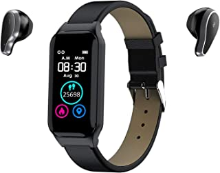 智能手表手链和无线蓝牙耳机 2 合 1 运动智能手链,智能腕带带隐形磁性充电耳塞 心率*监测健身追踪器(黑色)