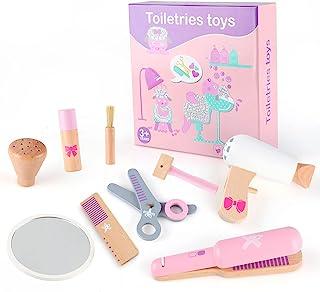 Qilay 木制女孩*沙龙套装,儿童理发化妆套装,10 件时尚假扮游戏发型套装,儿童理发化妆套装,带玩具吹风机、镜子和其他造型工具