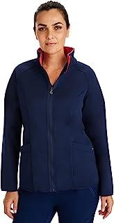 Healing Hands Knits 5300 女式 Brooklyn 夹克 – 双面拉链磨砂膏, Navy/Coral, 3X-Large Plus