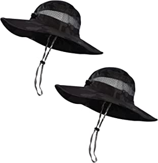 Trosetry Kunandroc 2 件套透气钓鱼帽和*帽 | 海滩和徒步帽、划船、皮划艇帽、男士和女士优质 UPF 50+ 太阳帽(2 件黑色迷彩帽)