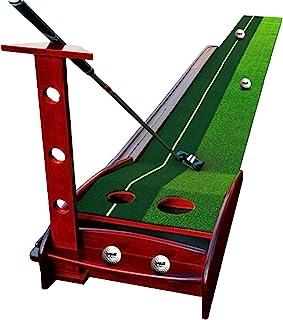 实木高尔夫推杆训练器,迷你高尔夫练习训练辅助器,室内高尔夫球垫(11.48 0.3 英尺)/(3.5 米 0.3 米),带自动回球功能,适用于家庭/办公室/休闲场所 - 6 个*励球