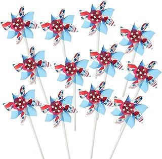 ArtCreativity 4 英寸星条旗风车,12 件套,红色、白色和蓝色,独立日装饰,7 月 4 日装饰庭院、花园、草坪、爱国派对儿童用品
