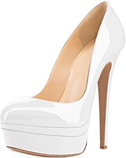 Yolkomo 高跟厚底高跟鞋 女式细高跟一脚蹬经典礼服派对鞋