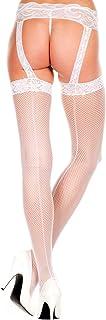 Music Legs 女式蕾丝上背缝吊带袜背带长袜,白色,均码(制造商尺码:小号/大号 34-40)