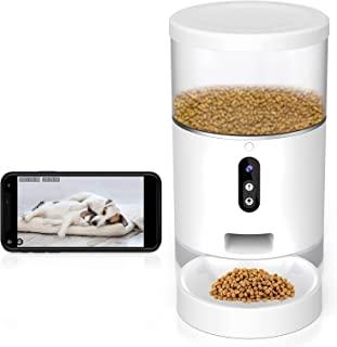 自动猫喂食器带相机、狗和猫粮分配器、定时猫喂食器带干燥食物干燥袋、智能宠物喂食器带分量控制、APP 控制,仅支持 2.4GHz Wi-Fi