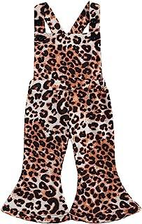 幼儿女婴无袖露背豹纹背带连身衣喇叭裤整体连体裤