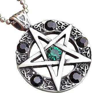 Wicca Jewelry 凯尔特五芒星绿-黑色水晶宝石巫婆巫婆魔法*保护护身符锡合金男士女士吊坠项链吊坠吊坠吊坠项链吊坠吊坠 适合男士女士银珠链