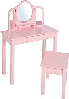 roba 化妆桌 & 理发桌 带凳子、儿童设置/化妆镜和化妆镜和女孩凳子,粉红色