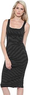 CULTURE CODE 女式背心裙 - 休闲无袖上衣低圆领纯色印花条纹紧身夏季弹力中长款连体泳衣