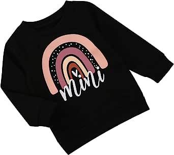 幼儿儿童婴儿女童毛衣长袖迷你彩虹印花 T 恤上衣套头衬衫休闲秋季服装