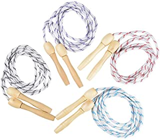 The Dreidel Company 耐用儿童跳绳,尼龙带木质手柄,室内室外跳跃活动,派对收藏,7 英尺(84 英寸)(4 件装)