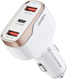 SUNDA 38W USB C 车载充电器,3 端口快速车载充电器,适用于手机,C 型车载充电器适配器,PD 20W 兼容 iPhone 12/11 Pro/Max/iPhone 11/iPad Pro/Galaxy/Samsung,18W Q...