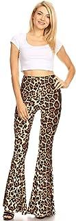 SWEETKIE 波西米亚喇叭裤,弹性腰围,女式阔腿裤,纯色和印花,弹性柔软 棕色 1180 Small