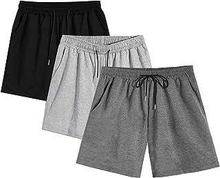 Romwe 男式 3 件装弹性腰短裤,带口袋慢跑短裤套装
