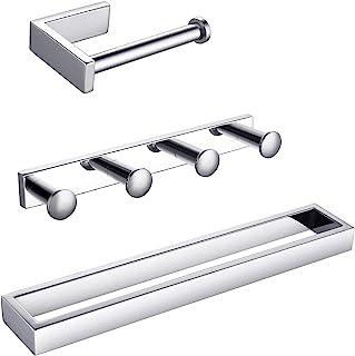 KLXHOME 3 件套浴室配件套装 浴室五金套件 抛光不锈钢壁挂 - 包括毛巾环,卫生纸架,衣钩,BS03C3