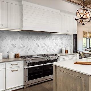 funlife 3D 大理石厚哑光膜乙烯基自粘墙纸可移除瓷砖贴花后防溅板瓷砖 适用于厨房浴室 55.04 厘米 x 13.50 厘米 14 件