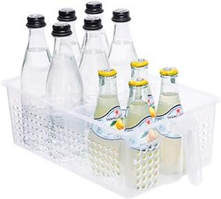 手柄冰箱储物箱,整理和存储,收纳箱,厨房食品柜,冰箱或冷冻食品储物箱,带手柄,冰箱组织 - 中号