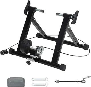 室内自行车训练器支架 便携式可折叠骑行锻炼磁性自行车训练器 带降噪轮 适用于公路和山地自行车
