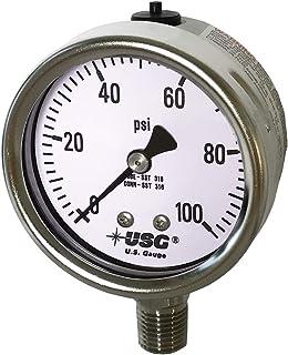 Ametek 美国规格 2.5 英寸(约 6.4 厘米)表盘型号 656 液体填充全不锈钢压力计 0 至 100 PSI