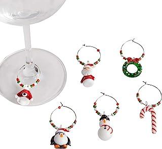 圣诞葡萄酒玻璃标记饰品 - 6 件套 - 区分客人饮料的可爱方式
