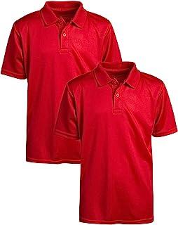 U.S. Polo Assn. 女童校服衬衫 - 性能短袖 Polo 衫(2 件装)