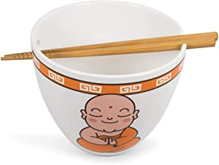 Toynk Hungry Buddha Nom Nom 日本陶瓷晚餐套装   16 盎司(约 453.6 克)拉面碗和筷子套装