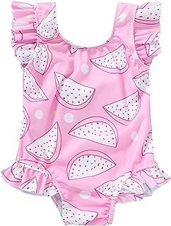 Tiny Cutey 幼儿女童泳衣荷叶边无袖泳装一件式沙滩装泳衣 6 - 4 岁