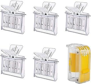 KRISMYA 5 件套 Bee Queen Cage Catcher 夹 带皇后蜜蜂标记瓶 塑料养蜂女王夹 透明蜂笼 适用于养蜂人标记工具