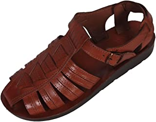 Jerusalem 男式闭趾圣经风格 104 皮革凉鞋