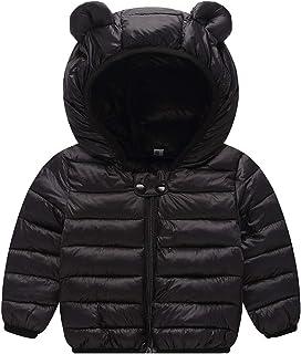 JunNeng 女婴超轻冬季连帽夹克外套,儿童学步卡通羽绒服