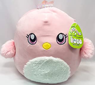 Squishmallows Kelly Toys Suneetha 12 英寸粉色小鸡超软毛绒玩具枕头