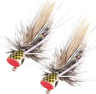 XFISHMAN Popper-Flies-for-Fly-Fishing-Topwater-Panfish-Bluegill-Bass-Poppers 苍蝇诱饵 24 件