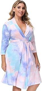 Hanna Nikole 女士加大码和服长袍七分袖浴袍睡衣家居服