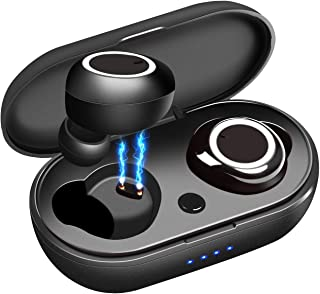 GTRACING 无线耳塞带无线充电盒 TWS 立体声蓝牙 5.0 耳机入耳式内置麦克风耳机高级声音带深低音,适合运动