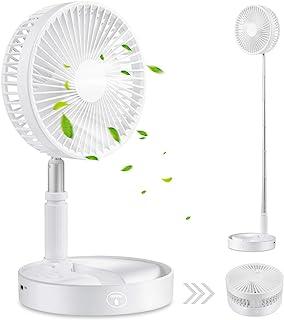 Lebond 便携式台式风扇,空气循环风扇,便携式旅行迷你风扇,电池供电或 USB 供电,可调节高度,基座落地风扇,4 档速度设置(白色)