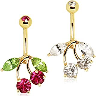 Gold Plated Cherry Navel Ring Clear
